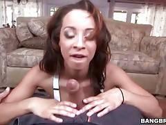 Sexy black babe Teanna Trump wraps her lips around hard dick.