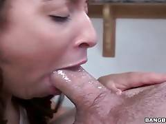 Attractive caramel slut gives her friend awesome blowjob.