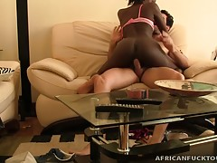 Sexy african babe hooks up with a dude on his mission for some good african pussy. She rubs his bulge and soon has his hard dick jammed into her mouth, where it belongs. She moans as she sucks it softly and gets on her knees to be smashed deep from the ba